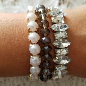 LOFT 3 Bracelet Set Diamond Pearl Bead STRETCH/NEW
